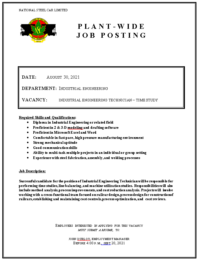 INDUSTRIAL ENGINEERING TECHNICIAN – TIME STUDY